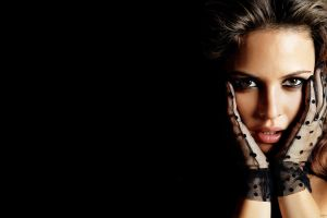josie maran face model gloves women portrait