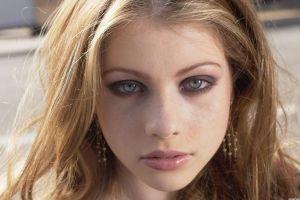 juicy lips women face gray eyes closeup