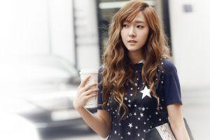 k-pop asian korean women jessica jung redhead snsd jessica long hair model snsd wavy hair looking away