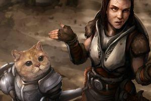 khajiit women with cat video games the elder scrolls v: skyrim the elder scrolls lydia cats