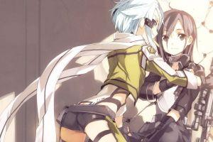 kirigaya kazuto anime asada shino blue eyes blue hair smoking gun gale online  anime girls ass