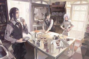 kitchen white hair cook artwork anime boys anime girls