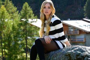 knee-highs women stockings model blonde