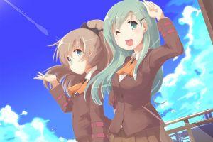 kumano (kancolle) anime girls suzuya (kancolle) anime school uniform kantai collection