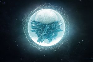 lacza sphere space cyan low poly space art abstract stars wireframe shapes digital art