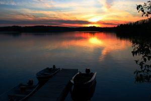 lake boat sky sunlight