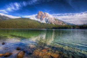 lake landscape sky nature