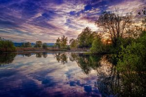 lake reflection nature sky water landscape forest sunlight