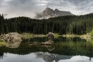 lake water trees rock landscape nature mountains reflection