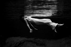 lana del rey brunette monochrome women floating white dress underwater white clothing barefoot