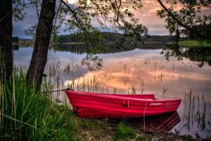 landscape boat nature lake