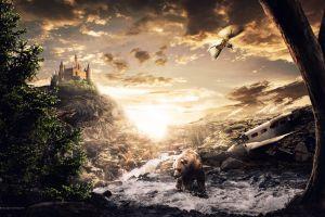 landscape castle fantasy art desktopography bears digital art