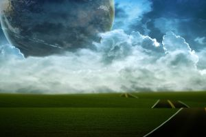 landscape cgi planet render digital art clouds space art road