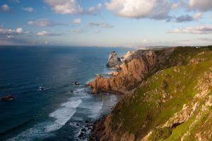 landscape coast clouds rock cliff horizon nature ireland sea