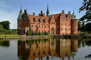 landscape denmark reflection water building castle