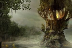 landscape fantasy art trees