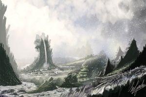 landscape frost fantasy art snow artwork winter