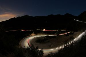landscape hairpin turns long exposure highway night road