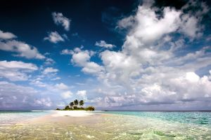 landscape island water sky tropical beach palm trees clouds sea