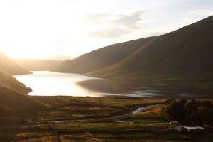 landscape lake nature scotland mountains sunlight