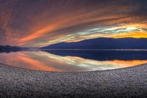landscape lake nature sunset fisheye lens