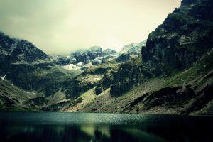 landscape mist lake nature mountains reflection