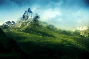 landscape mist nature mountains