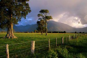 landscape mountains nature fence trees