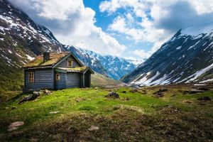 landscape mountains snow nature norway sky hut