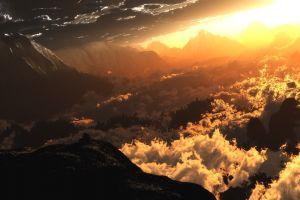 landscape mountains sunlight clouds nature