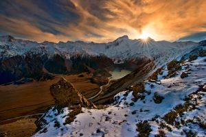 landscape nature mountains sunset snow