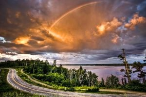 landscape nature road clouds sky