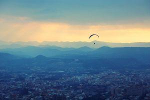 landscape paragliding cityscape