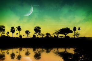 landscape reflection digital art space art space water nature trees sky
