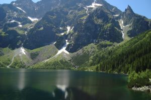 landscape reflection nature lake mountains