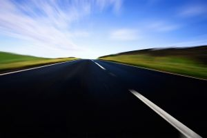 landscape road motion blur