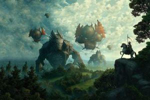 landscape robot fantasy art vehicle artwork horse sky
