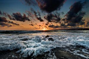 landscape sea beach sunset sky clouds water