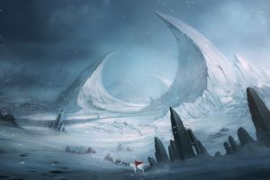 landscape snow winter fantasy art artwork