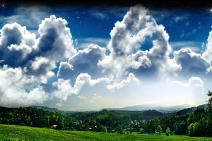 landscape stars digital art sky nature clouds