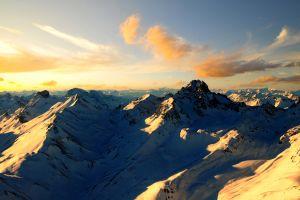 landscape sunlight mountains snow