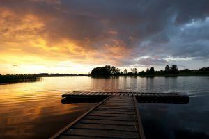 landscape sunset lake nature hdr
