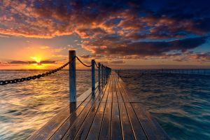 landscape sunset pier nature