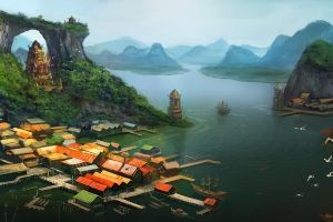 landscape village fantasy art nature artwork
