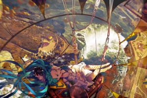 landscape vocaloid aerial view anime hatsune miku anime girls fantasy art legs waterfall colorful