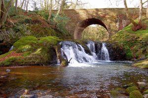 landscape waterfall bridge water