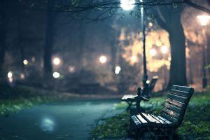 lantern bench lights night park