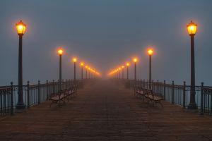 lantern pier bench lights mist night