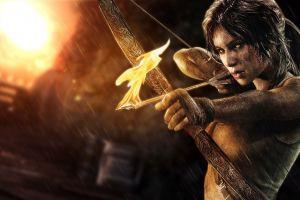 lara croft video games tomb raider bow artwork arrows