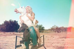 larry alan unicorns women blonde